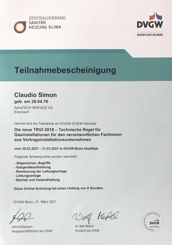 alphatech-Teilnahmebescheinigung TRGI2018-Gasinstallation_mrz-2021