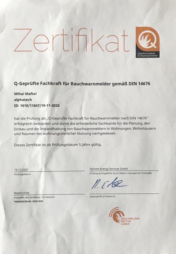 alphatech-Zertifikat_Fachkraft für Rauchmelder